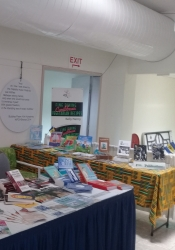 The National Cultural Foundation's book booth at Carifesta XIII, Barbados, 2017.