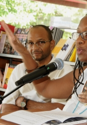 ArtsEtc Editors Robert Edison Sandiford and Linda M. Deane speaking at the launch of The ArtsEtc NIFCA Winning Words Anthology 2015/2016 August 19, 2017.