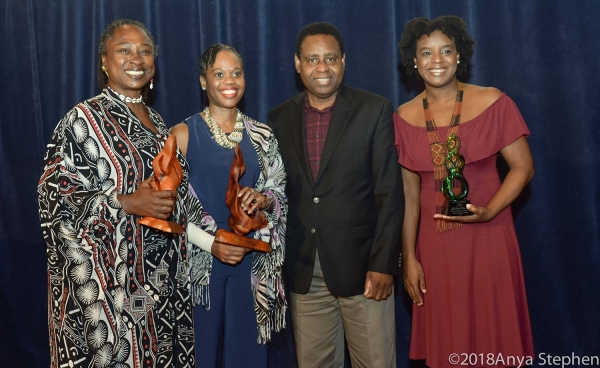 Winners of the 2017 Frank Collymore Literary Awards with the Governor of the Central Bank of Barbados.
