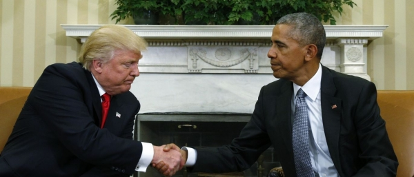 Trump meeting Obama in the Oval Office, November 2016, post-US elections.
